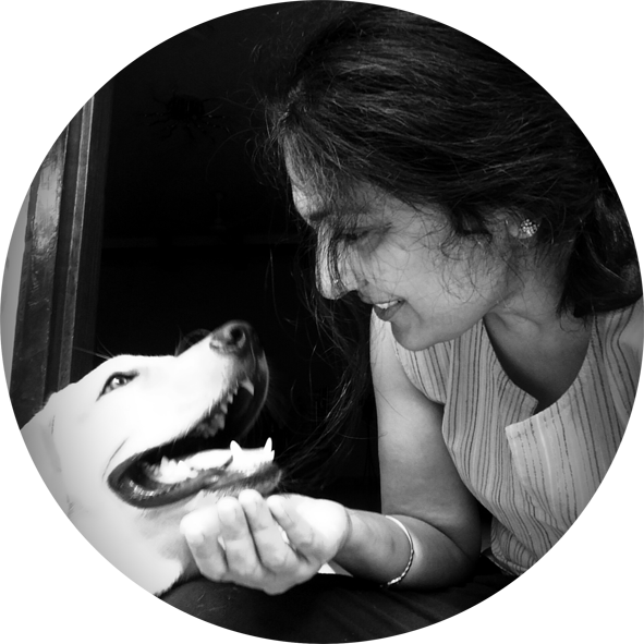Mona Soorma aka Manic Sylph, author, with her dog