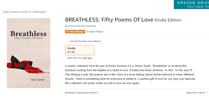 Screenshot of the book Breathless showing #1New Release tag on Amazon