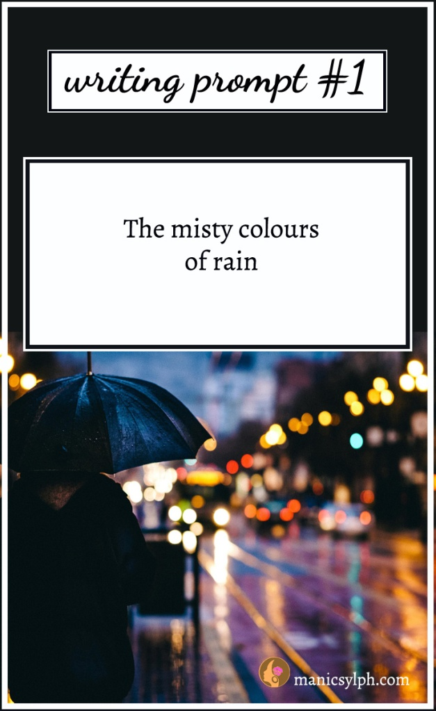person with umbrella on a rainy night with the writing prompt written on it
