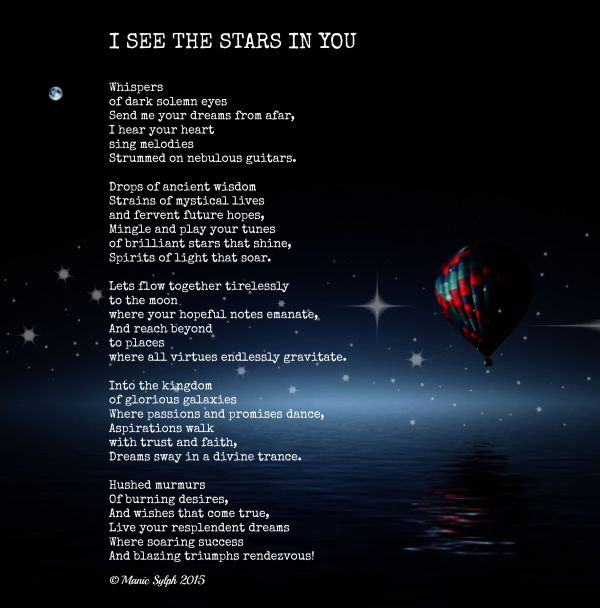 Poem by Mona Soorma aka Manic Sylph written on backround of night sky