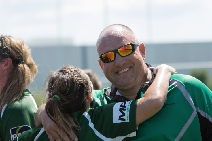 International rugby player Ken Jorgenson with a member of the Markham Irish Women's team