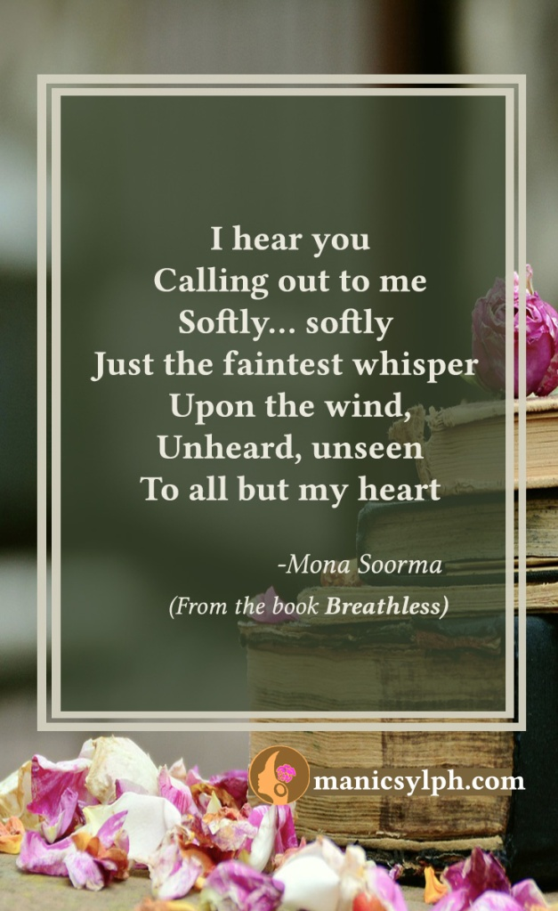 Whispered Calls- Quote from the book BREATHLESS by Mona Soorma