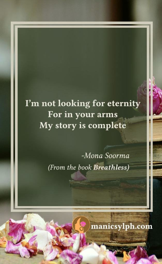 Complete- Quote from the book BREATHLESS by Mona Soorma
