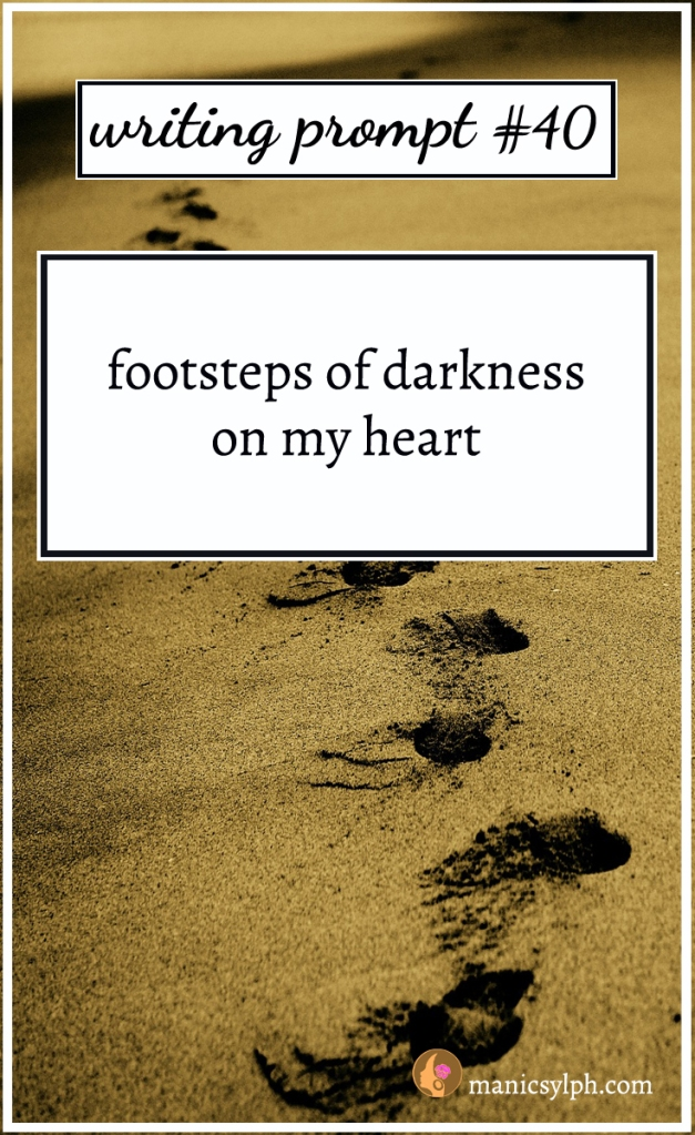 Footsteps in the sand and writing prompt 40 written on it