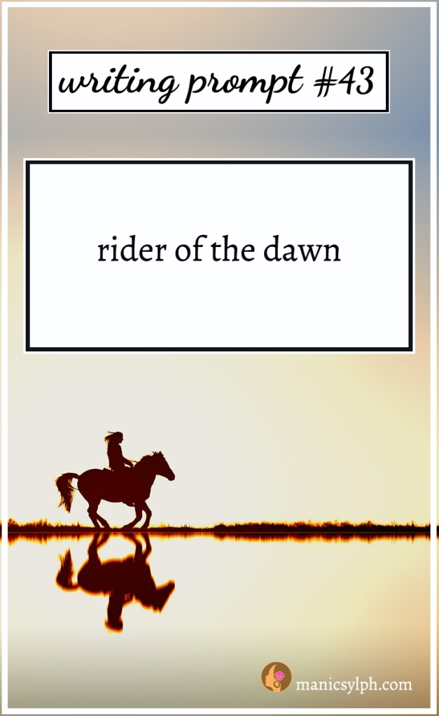 Horse and rider and writing prompt 43 written on it