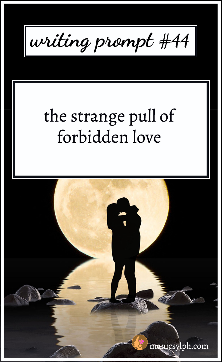A couple against the full moon and writing prompt 44 written on it
