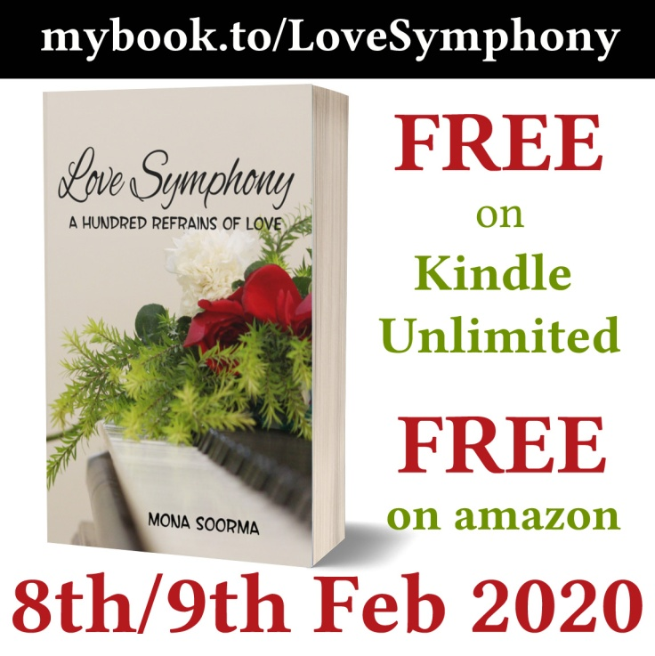 Poetry book Love Symphony and the information about its free download on Amazon