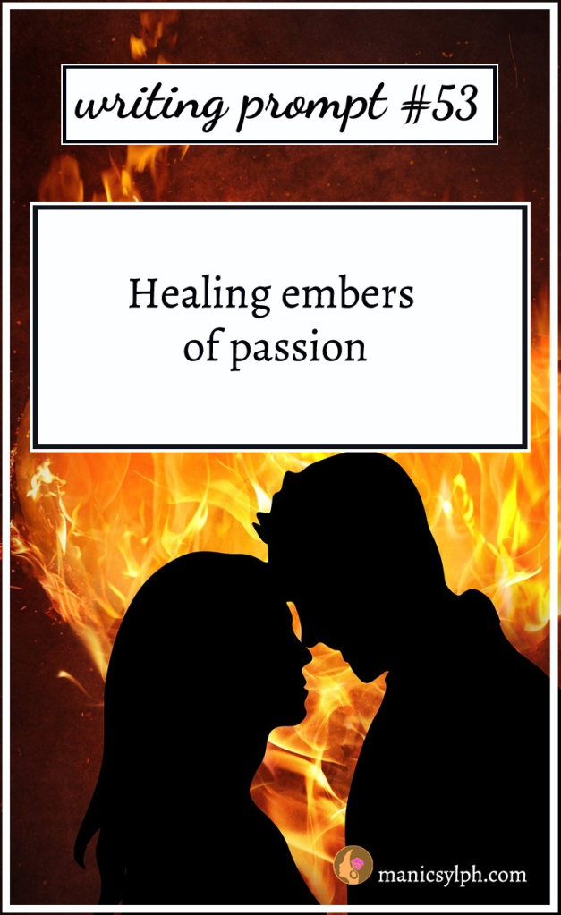 A couple silhouette against a fire heart and writing prompt 53 written on it