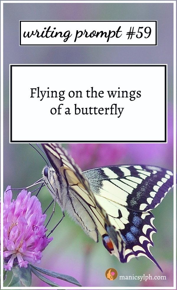 A butterfly on a lilac flower and writing prompt 59 written on it