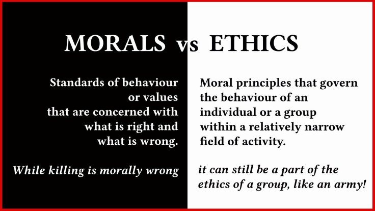 Morals vs Ethics