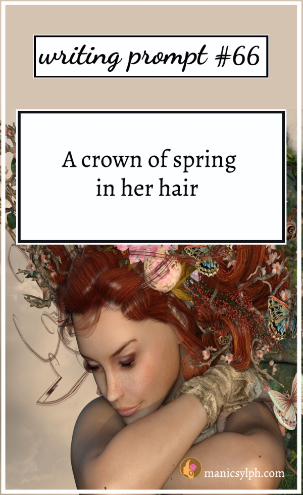 A woman wearing flowers and butterflies in her hair and writing prompt 66 written on it