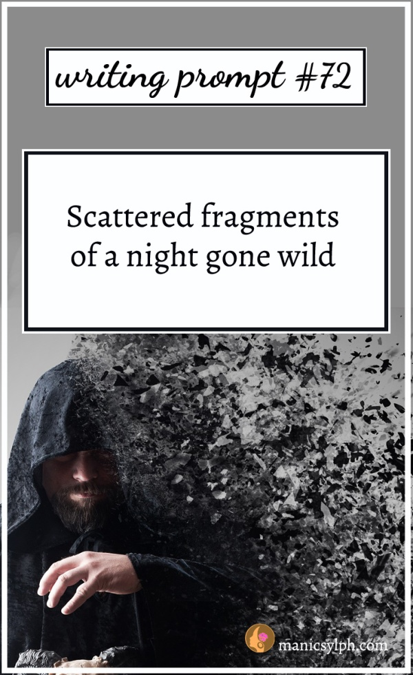 A man in a black fragmented cloak and writing prompt 72 written on it