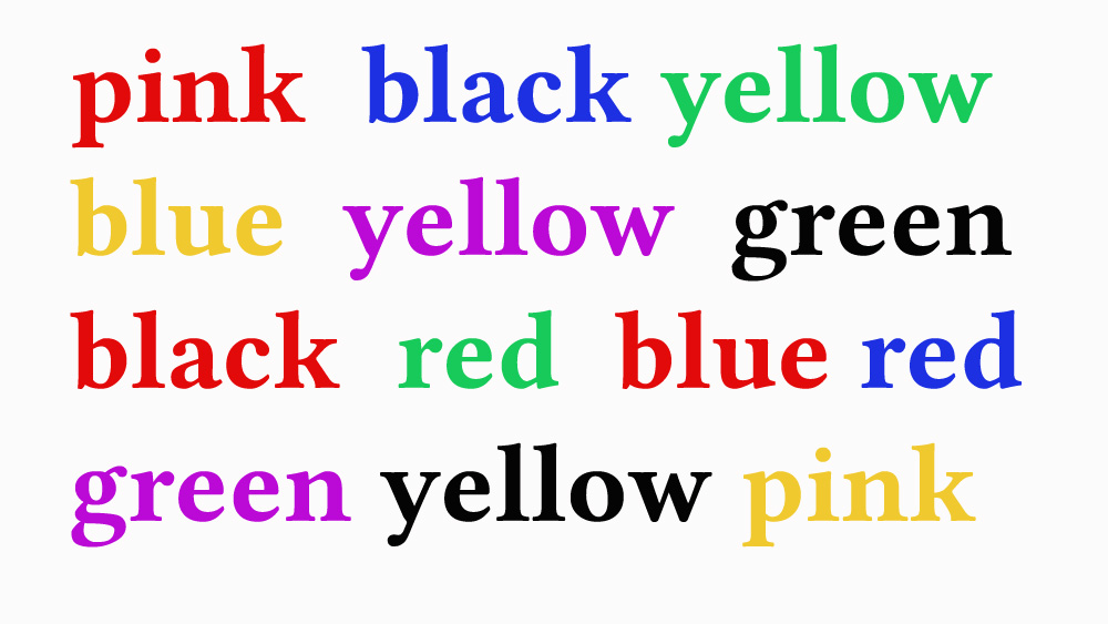 Colour Puzzle The names of colours written in different colours