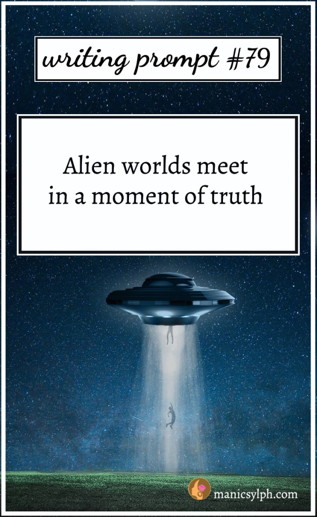 "A spaceship with aliens jumping out of it; writing prompt 79 - ""Alien worlds meet in a moment of truth"" written on it."