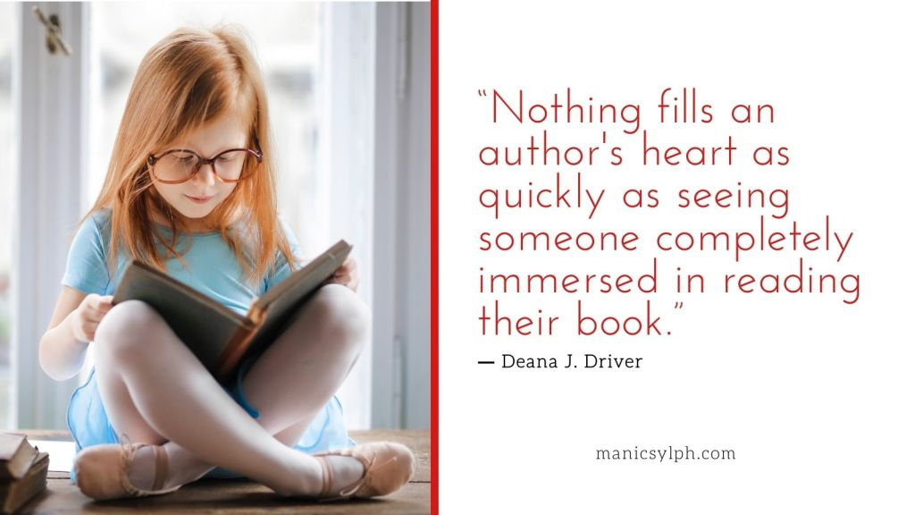 A girl engrossed in reading a book- Authors love to see people immersed in their books.