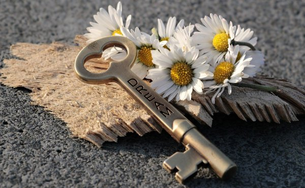 A key to your dreams placed next to white flowers