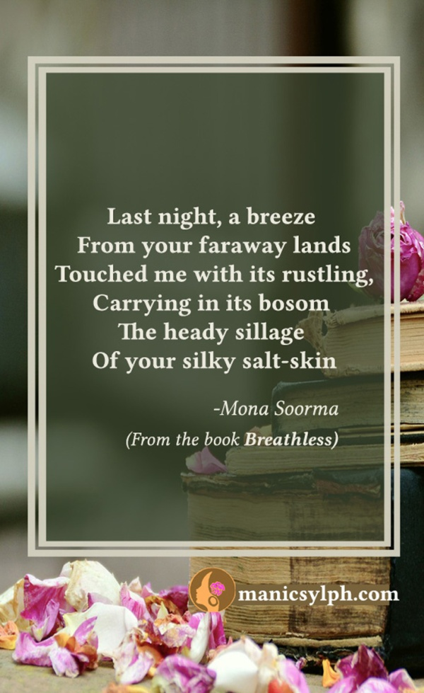 Quote 'You upon the breeze' from the book BREATHLESS by Mona Soorma